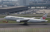 This May 10, 2019 file photo shows an aircraft of Japan Airlines Co. at Haneda Airport in Tokyo. (Mainichi)