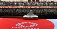 The Olympic emblem is seen at the Japan National Stadium in the capital's Shinjuku Ward ahead of the Tokyo Games opening ceremony on July 23, 2021. (Mainichi/Toshiki Miyama)