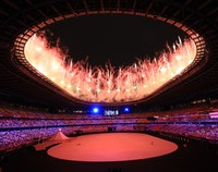 Fireworks are seen at the opening ceremony of the Tokyo Games, at the Japan National Stadium in the capital's Shinjuku Ward on July 23, 2021. (Mainichi/Naotsune Umemura)