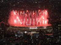 Fireworks are seen at the opening ceremony of the Tokyo Games, at the Japan National Stadium in the capital's Shinjuku Ward on July 23, 2021. (Mainichi/Koichiro Tezuka)
