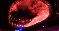 Fireworks are seen at the opening ceremony of the Tokyo Games, at the Japan National Stadium in the capital's Shinjuku Ward on July 23, 2021. (Mainichi/Rei Kubo)