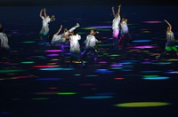 Performance artists are seen during the opening ceremony of the Tokyo Games, at the Japan National Stadium in the capital's Shinjuku Ward on July 23, 2021. (Mainichi/Rei Kubo)