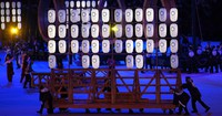 Traditional Japanese lanterns are used as props in a performance at the opening ceremony of the Tokyo Games, at the Japan National Stadium in the capital's Shinjuku Ward on July 23, 2021. (Mainichi/Rei Kubo)