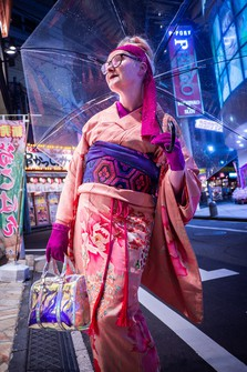 Kimono researcher Sheila Cliffe is seen wearing kimono in this photo provided by the individual.
