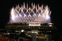 Fireworks illuminate over the National Stadium during the opening ceremony of the 2020 Summer Olympics, on July 23, 2021, in Tokyo. (AP Photo/Shuji Kajiyama)