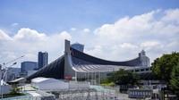 In this July 10, 2021, file photo, Yoyogi National Stadium, where handball will be held for the Tokyo 2020 Olympics, is seen in Tokyo. AP Photo/Kiichiro Sato)
