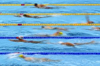 In this July 21, 2021, file photo, athletes exercise during a swimming training session at the Tokyo Aquatics Centre at the 2020 Summer Olympics in Tokyo, Japan. (AP Photo/Matthias Schrader)