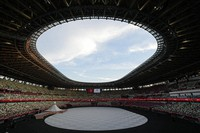The stage is set before the opening ceremony in the Olympic Stadium at the 2020 Summer Olympics, on July 23, 2021, in Tokyo, Japan. (AP Photo/David J. Phillip)