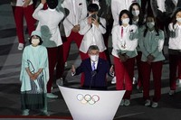 President of the International Olympic Committee Thomas Bach speaks during the opening ceremony at the Olympic Stadium at the 2020 Summer Olympics, on July 23, 2021, in Tokyo. (AP Photo/Morry Gash)
