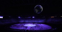 A globe formed with drones is seen at the opening ceremony of the Tokyo Games, at the Japan National Stadium in the capital's Shinjuku Ward on July 23, 2021. (Mainichi/Toshiki Miyama)
