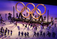 Olympic rings made of wood are seen at the opening ceremony of the Tokyo Games, at the Japan National Stadium in the capital's Shinjuku Ward on July 23, 2021. (Mainichi/Rei Kubo)