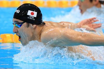 男子400メートル個人メドレー予選で敗退した瀬戸大也のバタフライ=東京アクアティクスセンターで2021年7月24日、梅村直承撮影