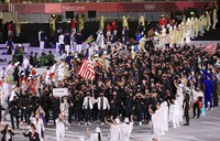 The U.S. Olympic team is seen making their entrance during the athletes' parade in the opening ceremony for the Tokyo 2020 Olympic Games, at the Japan National Stadium on July 23, 2021. (Mainichi/Naotsune Umemura)
