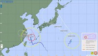 The forecast paths of Typhoon Nepartak, right, and Typhoon In-fa, are shown as of 5 p.m. on July 24, 2021. (Image from the Japan Meteorological Agency website)