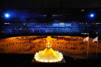 The Olympic flame burns during the opening ceremony in the Olympic Stadium at the 2020 Summer Olympics, on July 23, 2021, in Tokyo, Japan. (AP Photo/Lee Jin-man)