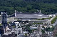 Yoyogi National Stadium, where handball will be held for Tokyo 2020 Olympics, is seen Saturday, July 10, 2021, in Tokyo. (AP Photo/Kiichiro Sato)
