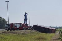 Emergency crews work at the site of a bus accident near Slavonski Brod, Croatia, on July 25, 2021. (AP Photo/Luka Safundzic, SBonline)