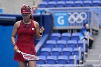 Naomi Osaka, of Japan, reacts during a second round tennis match against Viktorija Golubic, of Switzerland, at the 2020 Summer Olympics, on July 26, 2021, in Tokyo, Japan. (AP Photo/Patrick Semansky)