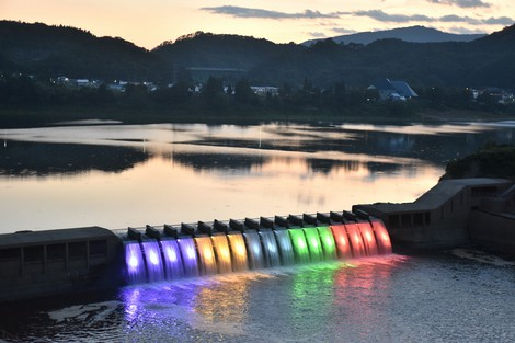 Japan Photo Journal: Iwate Pref. dam waterfalls lit up in Olympic ring colors
