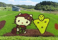 Rice field art of Hello Kitty and the Isedotai archaeological site's mascot Isedokun is seen along the Akita Nairiku Line in Kitaakita, Akita Prefecture, on July 18, 2021. (Mainichi/Akira Kudo)