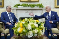 U.S. President Joe Biden, right, speaks as Iraqi Prime Minister Mustafa al-Kadhimi, left, listens during their meeting in the Oval Office of the White House in Washington, on July 26, 2021. (AP Photo/Susan Walsh)