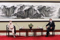 In this photo provided by the U.S. Department of State, U.S. Deputy Secretary of State Wendy Sherman, left, and Chinese Foreign Minister Wang Yi sit together in Tianjin, China, on July 26, 2021. (U.S. Department of State via AP)