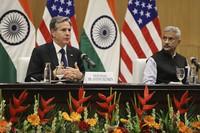 U.S. Secretary of State Antony Blinken, left, speaks as Indian Foreign Minister Subrahmanyam Jaishankar listens during a joint news conference at Jawaharlal Nehru Bhawan (JNB) in New Delhi, India, on July 28, 2021. (Jonathan Ernst/Pool Photo via AP)