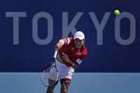 Kei Nishikori, of Japan, plays Ilya Ivashka, of Belarus, during the third round of the tennis competition at the 2020 Summer Olympics, on July 28, 2021, in Tokyo. (AP Photo/Seth Wenig)