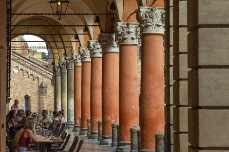 A view of Bologna's porticoes in Bologna, Italy, on July 28, 2021. (Guido Calamosca/LaPresse via AP)