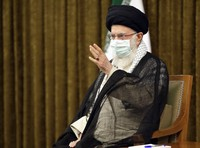 In this photo released by the official website of the office of the Iranian supreme leader, Supreme Leader Ayatollah Ali Khamenei speaks in farewell meeting with outgoing President Hassan Rouhani's administration in Tehran, Iran, on July 28, 2021.  (Office of the Iranian Supreme Leader via AP)