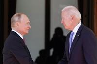 In this June 16, 2021 file photo, President Joe Biden and Russian President Vladimir Putin, arrive to meet at the ''Villa la Grange'', in Geneva, Switzerland. (AP Photo/Patrick Semansky)