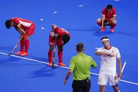 Japan players react after losing to Spain in a men's field hockey match at the Summer Olympics, on July 28, 2021, in Tokyo, Japan. (AP Photo/John Locher)