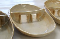 The curry plates in the style of Obara Dam, complete with two crest gates for curry sauce to flow through onto rice, are seen in this image taken in Unnan, Shimane Prefecture, on July 19, 2021. (Mainichi/Hajime Meno)