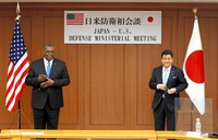 In this March 16, 2021 file photo, U.S. Defense Secretary Lloyd Austin, left, and Japanese Defense Minister Nobuo Kishi are seen before their talks in Tokyo. (Pool photo)