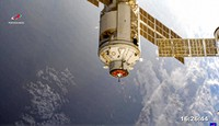In this photo provided by Roscosmos Space Agency Press Service, the Nauka module is seen prior to docking with the International Space Station on July 29, 2021. (Roscosmos Space Agency Press Service photo via AP)