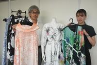 "Tougou Shouten President Fumitaka Takezawa, left, and Mao Miyatsuka, an employee in charge of product planning, show items under the environmentally friendly brand ""Saisa"" in the city of Fukui on July 13, 2021. (Mainichi/Sho Ohara)"