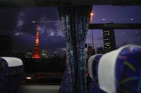 The Tokyo Tower is seen through a bus window ahead of the delayed Summer Olympics on July 15, 2021, in Tokyo. (AP Photo/Jae C. Hong)