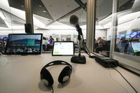 A console of interpreters at the main press center, at the Summer Olympics, on July 30, 2021, in Tokyo, Japan. (AP Photo/Luca Bruno)