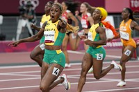 Elaine Thompson-Herah of Jamaica, celebrates as she wins the women's 100-meters final at the 2020 Summer Olympics, on July 31, 2021, in Tokyo. (AP Photo/David J. Phillip)