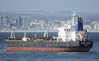This Jan. 2, 2016 photo shows the Liberian-flagged oil tanker Mercer Street off Cape Town, South Africa. (Johan Victor via AP)