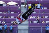 Charlotte Worthington of Britain competes in the women's BMX freestyle final at the 2020 Summer Olympics, Sunday, Aug. 1, 2021, in Tokyo, Japan. (AP Photo/Ben Curtis)