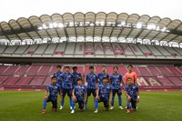 Japan's players pose for a photo prior to a men's quarterfinal soccer match against New Zealand at the 2020 Summer Olympics, Saturday, July 31, 2021, in Kashima, Japan. (AP Photo/Fernando Vergara)