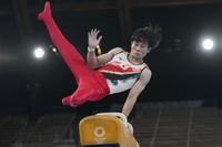 Kazuma Kaya of Japan, performs on the pommel horse during the artistic gymnastics men's apparatus final at the 2020 Summer Olympics,  Aug. 1, 2021, in Tokyo, Japan. (AP Photo/Natacha Pisarenko)