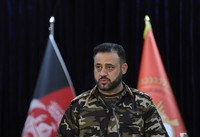 Gen. Ajmal Omar Shinwari, spokesperson for the Afghan armed forces speaks during a press conference in Kabul, Afghanistan, on Aug. 1, 2021. (AP Photo/Rahmat Gul)