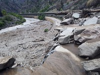 This image provided by the Colorado Department of Transportation shows mud and debris on U.S. Highway 6, on Aug. 1, 2021 west of Silver Plume, Colo. (Colorado Department of Transportation via AP)