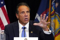New York Gov. Andrew Cuomo speaks during a news conference at New York's Yankee Stadium, on July 26, 2021. (AP Photo/Richard Drew)