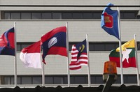 In this April 22, 2021, file photo, flags of some of the ASEAN member countries fly at the ASEAN Secretariat in Jakarta, Indonesia. (AP Photo/Tatan Syuflana)