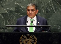 In this Sept. 30, 2019, file photo, Dato Erywan Pehin Yusof, Second Minister for Foreign Affairs and Trade of Brunei, addresses the 74th session of the United Nations General Assembly in New York. (AP Photo/Richard Drew)