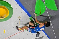 Tomoa Narasaki, of Japan, participates during the lead qualification portion of the men's sport climbing competition at the Summer Olympics, on Aug. 3, 2021, in Tokyo, Japan. (AP Photo/Jeff Roberson)
