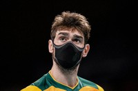 Brazil's Lucas Saatkamp looks on during a men's volleyball preliminary round pool B match between Brazil and United States at the Summer Olympics, on July 30, 2021, in Tokyo, Japan. (AP Photo/Manu Fernandez)